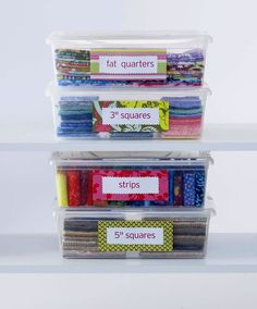 Whether you cut specific sizes from every fabric or cut yardages with a particular quilt project in mind, sorting by dimension is a storage option. Use clear-plastic storage boxes to hold fabrics of the same size and label the boxes for true efficiency.