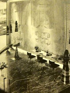 Olivetti's NYC showroom. The mural is by Constantino Nivola. 1954