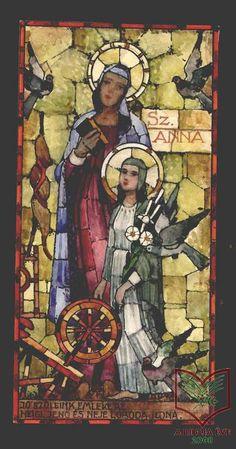 Pécsi Pilch Dezső: Szent Anna - üvegfestmény terv, akvarell, papír, 1940 körül