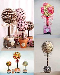 somebody say sweet trees? these are amazing and I would definitely consider using these for a quirky wedding- maybe a double use of centre pieces and favours? Wedding Favor Table, Wedding Favours, Candy Theme Birthday Party, Chocolates, Candy Trees, Sweet Trees, Chocolate Bouquet, Chocolate Flowers, Candy Favors