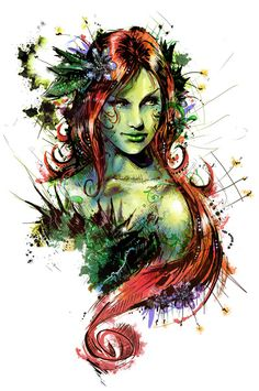 Posion Ivy by Vincent Vernacotola - gorgeous ! If I ever got a portrait tattoo, it would be along these lines...This is fantastic