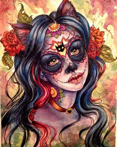 "Beautiful ""Sugar Skull Cat Princess"" drawing by Ginger Jess! Sugar Skull Mädchen, Sugar Skull Artwork, Sugar Skull Tattoos, Tribal Tattoos, Sugar Skull Wallpaper, Ear Tattoos, Celtic Tattoos, Day Of The Dead Drawing, Day Of The Dead Artwork"