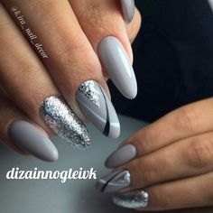 Grey,silver,and black nails