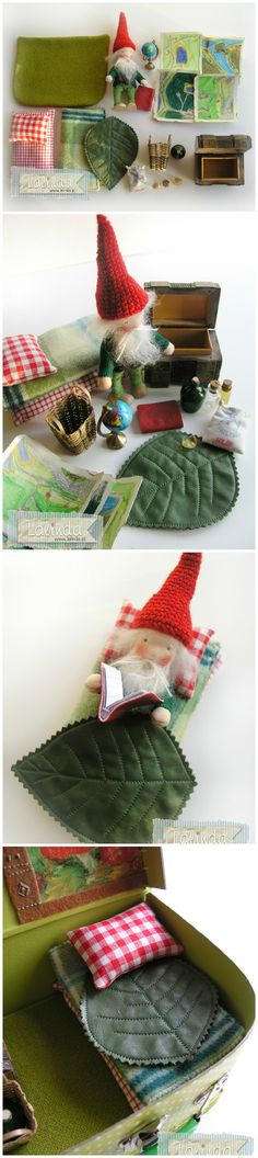 épinglé par ❃❀CM❁a gnome's home play set with bed, book, globe, pictures, leaf blanket! Waldorf Crafts, Waldorf Toys, Gnome House, Homemade Toys, Felt Toys, Diy Toys, Felt Crafts, Mobiles, Crafts For Kids