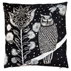 The Owl Cushion by NADJA WEDIN DESIGNE #nordicdesigncollective - awesome composition of nature and b/w