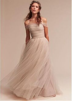 [119.99] Simple Tulle & Satin Off-the-shoulder Neckline A-Line Wedding Dresses - dressilyme.com