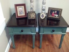 Yard sale old wooden end tables, refurbished into 2 tone gorgeous pieces.  Black cherry stain and spruce paint.