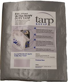 Kotap TUH-1020 Finished Size Ultra Heavy-Duty 8 oz/16-mil Poly Tarp, 10' x 20', Reversible Silver/White