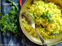 Tangy lemon rice is a perfect accompaniment to any Indian curry.