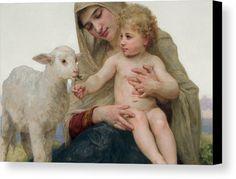 La Vierge A Lagneau Canvas Print by William-Adolphe Bouguereau.  All canvas prints are professionally printed, assembled, and shipped within 3 - 4 business days and delivered ready-to-hang on your wall. Choose from multiple print sizes, border colors, and canvas materials.