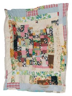 """Irene Williams - """"Housetop"""" medallion variation - c. 1970 Cotton, rayon, polyester double knit, acetate 82 x 66 inches"""