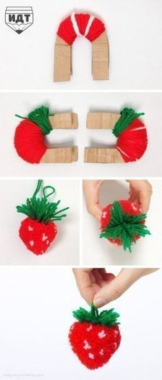 DIY Strawberry Pom Pom Tutorial (Under my crochet board because of the yarn) Kids Crafts, Cute Crafts, Crafts To Do, Yarn Crafts, Arts And Crafts, Cute Diy, Diy Projects To Try, Sewing Projects, Craft Projects