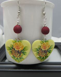 Shabby Style Floral Heart Drop Earrings Roses  by fivedollarears