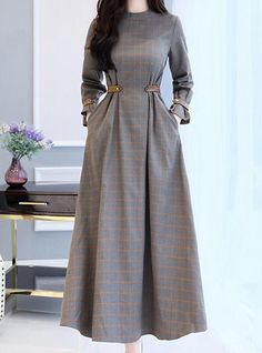 Women& Party Going out Casual Maxi Swing Dress - Check Patchwork Stand Fall. - Women& Party Going out Casual Maxi Swing Dress – Check Patchwork Stand Fall Cotton Gray L X - Muslim Fashion, Modest Fashion, Hijab Fashion, Fashion Dresses, Fashion Fashion, Trendy Fashion, Fashion Tips, Fashion Trends, Mode Abaya