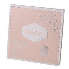 """Hochzeitseinladung """"Maja"""" - Romantische Hochzeitseinladung in Apricot im Vintage-Look mit silbernen Motiven"""