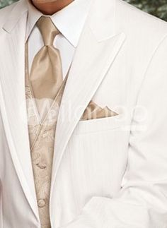 Best White Single Breasted Button Lapel Worsted Groom Wedding ...