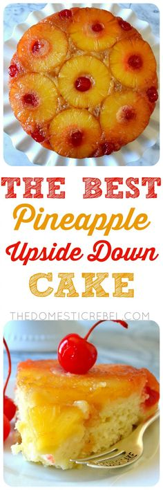 This is the BEST recipe for Pineapple Upside Down Cake EVER! Supremely moist, soft and tender pineapple-infused cake topped with a caramelized brown sugar & butter sauce, softened pineapples and juicy cherries. So easy, impressive, and TASTY! by dee Pineapple Upside Down Cake, Pineapple Cake, Pineapple Juice, Orange Juice, Köstliche Desserts, Delicious Desserts, Filipino Desserts, Food Cakes, Cupcake Cakes