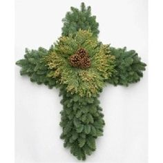 Natural Fresh & Real Noble Fir Cross Wreath Holiday Decor Home/Business Grave Flowers, Cemetery Flowers, Funeral Flowers, Christmas Arrangements, Outdoor Christmas Decorations, Floral Arrangements, Holiday Decor, Christmas Bazaar Crafts, Cemetery Decorations