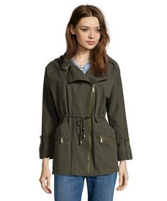 BCBGeneration army green cotton twill asymmetrical hooded jacket | BLUEFLY
