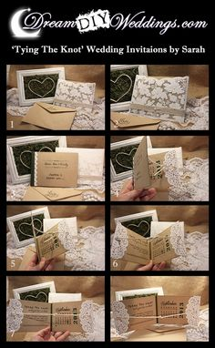 Interactive 'Tying The Knot' DIY Wedding Invitations or Save The Date Cards, perfect for Vintage or Rustic themed Weddings
