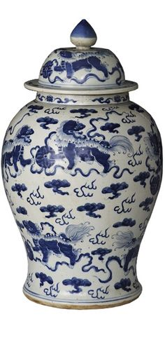Artifact Style Chinese Blue & White Porcelain Foo Dog Temple Jar, Beautiful Example of Traditional Artisan Artwork, Classic Interior Design Project Fillers, one of over 3,000 limited production interior design inspirations inc, furniture, lighting, mirrors, home accents, accessories, decor and gift ideas to enjoy repin and share at InStyle Decor Beverly Hills Hollywood Luxury Home Decor enjoy & happy pinning
