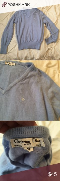 Christian Dior Authentic Vintage Blue Sweater Christian Dior Authentic Vintage Light Blue Sweater Top size small  neck  ---- 🚭 All items are from a non-smoking home. 👆🏻Item is as described, feel free to ask questions. 📦 I am a fast shipper with excellent ratings. 👗I love bundles & bundle discounts. Feel free to make an offer! 😍 Like this item? Check out the rest of my closet! 💖 Thanks for looking! Christian Dior Sweaters