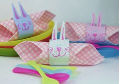 Cute Easter Bunny Napkin Rings From Cardboard Tubes. A quick and easy recycled Easter craft.