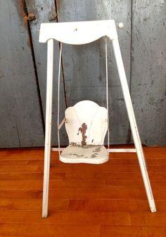 Vintage Doll Swing Metal White & Rusty
