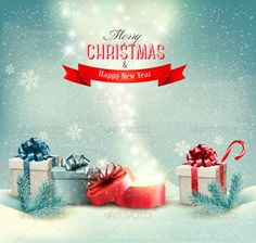 Christmas Holiday Background with Presents — JPG Image #branch #tree • Available here → https://graphicriver.net/item/christmas-holiday-background-with-presents/6452389?ref=pxcr