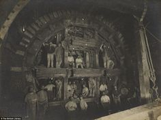 There's a million fascinating facts and figures about the London Underground, but this rarely seen photograph reminds us just what an engineering feat the construction process was. Here we see the creation of the Central Line in 1898 Victorian London, Victorian Life, Vintage London, Old London, London 1800, Victorian Facts, London History, British History, Uk History