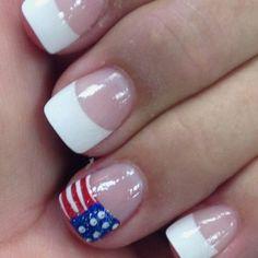 patriotic nails - My nails for vacation - July 4th Nails Designs, 4th Of July Nails, French Nail Designs, Creative Nail Designs, Art Designs, Sparkly Nails, Fancy Nails, Glitter Nails, Nice Nails