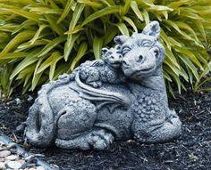 Garden And Lawn , Dragon Garden Statue : Sweet Family Dragon Garden Statue