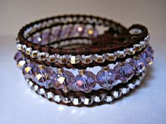 Violet shimmer crystal beaded leather cuff by CristinaDavisJewelry, $35.00