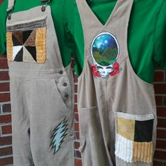 Old Navy Overalls, Overalls Vintage, Galaxy Fabric, Old Singers, Grateful Dead, Handmade Clothes, Wearable Art, Corduroy, Upcycle