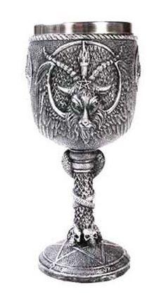 "6-3/4"" Baphomet Sabbatic Goat Gothic Medieval Chalice Goblet Cup #AzureGreen"