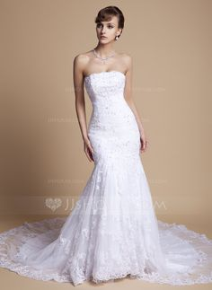Trumpet/Mermaid Strapless Chapel Train Tulle Lace Wedding Dress With Ruffle Beading Appliques Lace Sequins (002000375) - JJsHouse