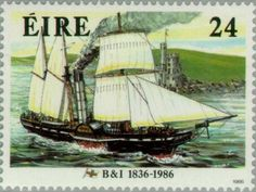 "Sello: Steamsailingship ""Severn"" (19th Cty.) (Irlanda) (Ships) Mi:IE 599,Sg:IE 642"