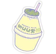 """Banana Milk"" Stickers by LauraOConnor Stickers Kawaii, Pop Stickers, Bubble Stickers, Anime Stickers, Printable Stickers, Peach Drinks, Korean Stickers, Banana Milk, Posca"