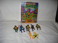 1991 Playmates Mirage Studios Teenage Mutant Ninja Turtles Figures and Case