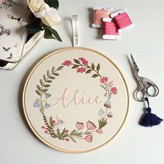 {Alice will be born and her embroidery is ready waiting } Name Embroidery, Hand Embroidery Stitches, Modern Embroidery, Embroidery Hoop Art, Cross Stitch Embroidery, Embroidery Patterns, Diy Broderie, Embroidery Fashion, Sewing Crafts