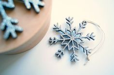 Wooden Snowflakes Christmas decoration. Silver by OkrasaDecor
