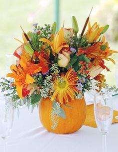 Pumpkin Centerpiece - with sunflowers inside??