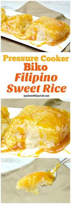 Pressure Cooker Biko Filipino Sweet Rice Cake (No Soak) This dish is so sweet and delicious I cannot wait for you to try it for yourself. This is my Pressure Cooker Biko Filipino Sweet Rice Cake No Soak Recipe. Filipino Desserts, Asian Desserts, Filipino Recipes, Filipino Food, Pinoy Food, Pinoy Dessert, Filipino Dishes, Biko Recipe, Sticky Rice Recipes