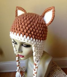 Fun Hat. Cat Hat. Fox Hat. Crochet Beanie with Ears, Ear Flaps and Braids. Harvest color. Girls, Teens or Women's Hat. Chunky. Hand-crocheted with very soft, thick (not heavy), beautiful Wool Blend yarn (50% wool / 50% Acrylic). Super soft, super comfortable! Warm and fun. COLOR (S): Hat: Harvest (shown) with Cream accents Accents: Cream and Harvest AVAILABLE SIZE(S): Typical Size Chart 21 inches Adult S 22 inches Adult M 23 inches Adult L 24 inches Adult XL Make sure to measure your hea...