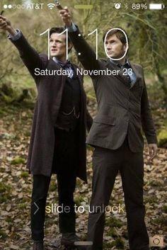 Matt Smith and David Tennant. Perfect phone capture.