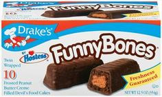 I enjoyed all the Drake's Cakes - Ring Dings, Yodels, Yankee Doodles, and the list goes on. However, my favorites (tied with Yanke Doodles) were Funny Bones: Chocolate cake covered with chocolate frosting protecting a middle filling of peanut butter cream. Two cakes per package when bought individually. What kid wouldn't love them? Scrumptious!
