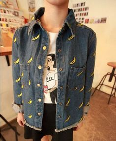 Bananas Embroidery Rough Edges Denim Blouse - Blouses - Clothing