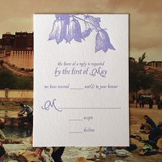 Marie in a #heather ink is a nice way to provide a pretty #RSVP card for the #wedding guests.