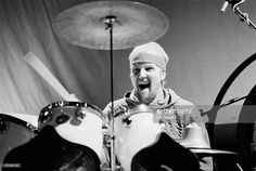 drummer Chris Slade from Uriah Heep performs in rehearsal at The Roxy in Harlesden, North West London in January 1980.
