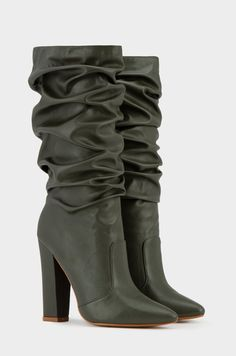 stock unit: - man-made, vegan-friendly - pointed toe - chunky heel - ruched design - pull-on style - tall length - cushioned insole - heel height - true to size* *True sizing varies by foot. Slouchy Boots, The Struts, Chunky Heels, Sale Items, Fashion Forward, Take That, Booty, Stuff To Buy, Accessories